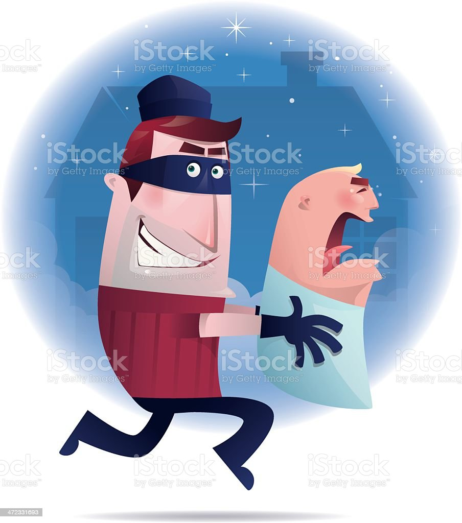baby robber vector art illustration