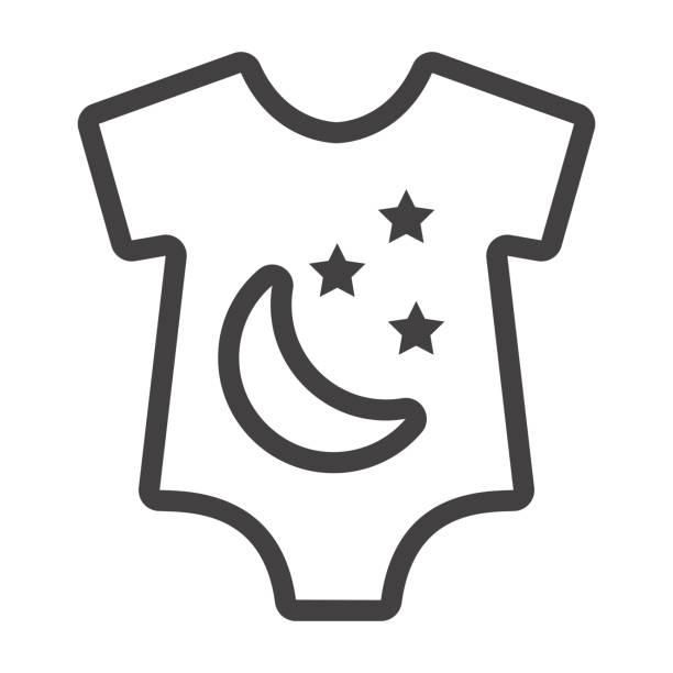 baby strampler liniensymbol, babykleidung und kid, vektor-grafiken, ein lineares muster auf weißem hintergrund, eps 10. - bodysuit stock-grafiken, -clipart, -cartoons und -symbole