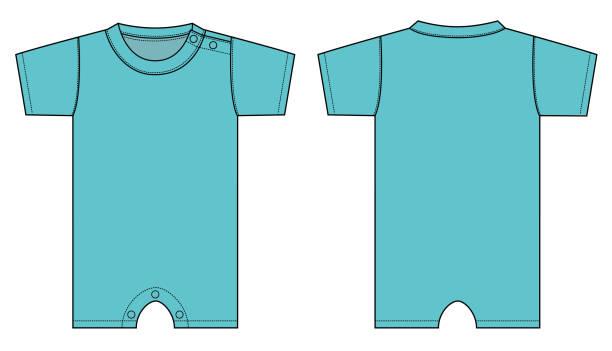 Baby rompers illustration (aqua blue) Baby rompers illustration (aqua blue) infant bodysuit stock illustrations
