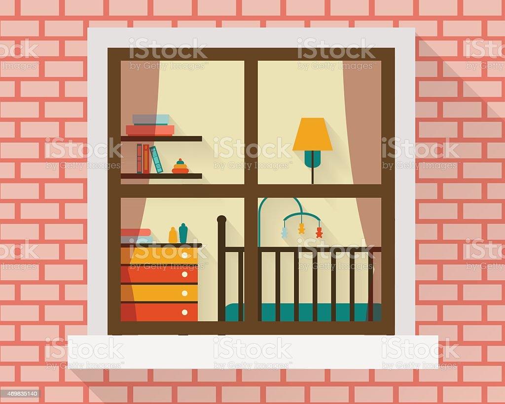창에서 아기 방 일러스트 469835140  iStock
