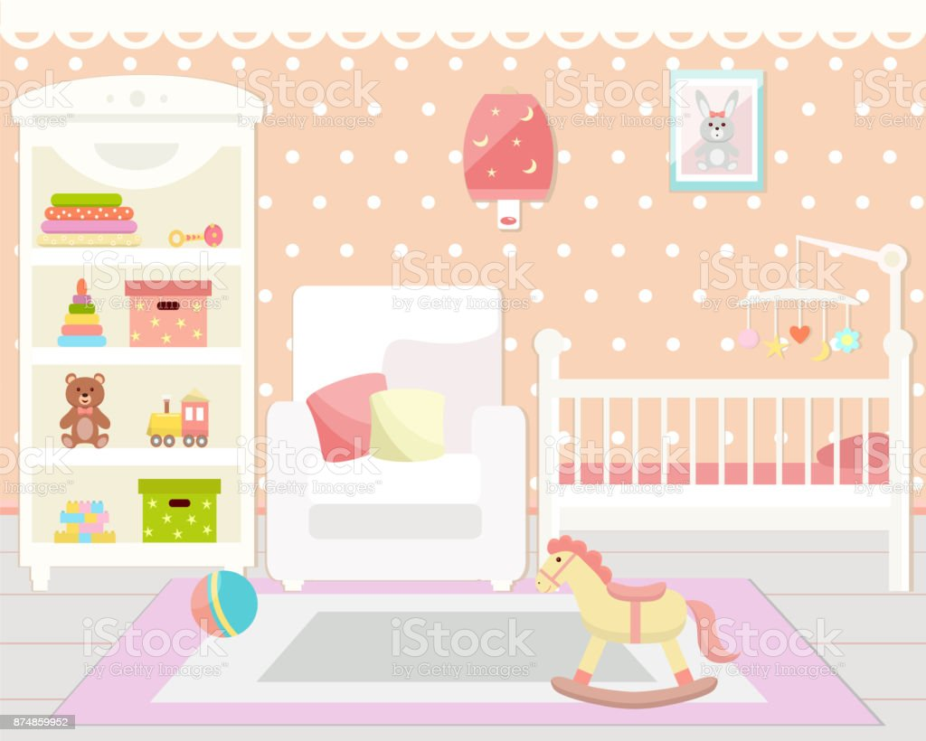 Baby room interior. Baby room with  toys, cot,  armchair and rug vector art illustration