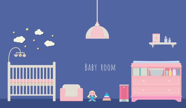 baby zimmer innen vektor - wickeltisch stock-grafiken, -clipart, -cartoons und -symbole