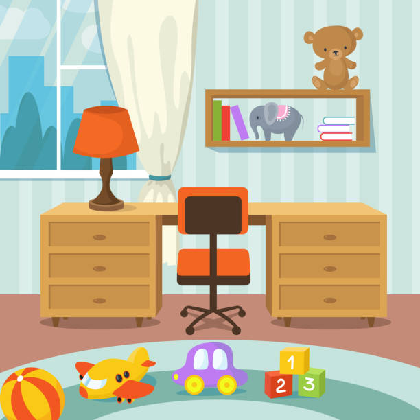 Baby room interior with bed and toys in flat style vector illustration Baby room interior with bed and toys in flat style vector illustration. Playroom interior with table and chair good condition stock illustrations