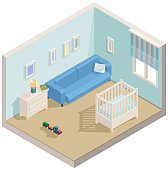 Vector illustration of baby boys room with sofa and bed