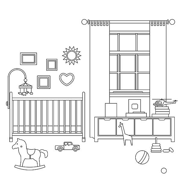 Baby room line interior Baby room line interior. Vector outline illustration of nursery with furniture and toys. garden center stock illustrations