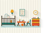 Baby room with furniture. Nursery interior. Playroom. Flat style vector illustration.