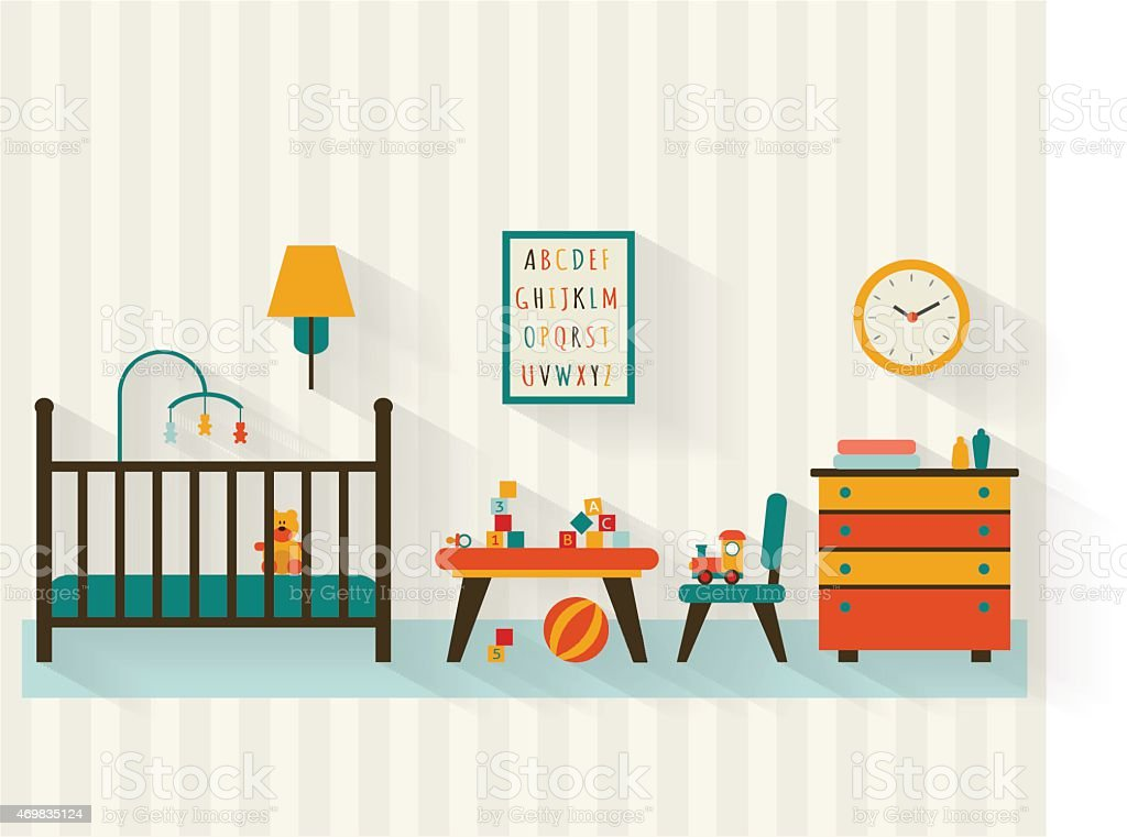 Baby room vector art illustration