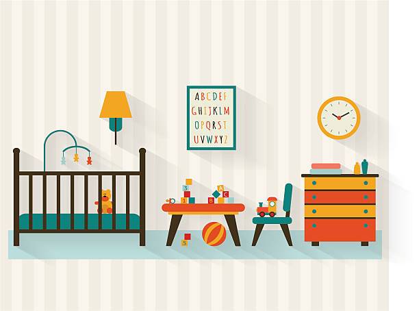 Baby room Baby room with furniture. Nursery interior. Playroom. Flat style vector illustration. bedroom silhouettes stock illustrations