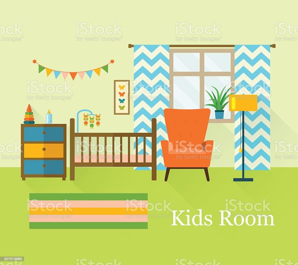 Bebé Habitación Con Muebles Estilo Plano Ilustración De Vectores ...