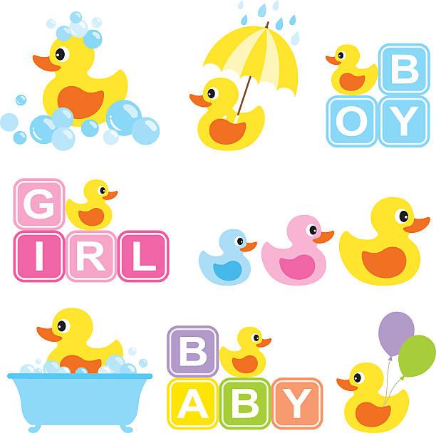 bildbanksillustrationer, clip art samt tecknat material och ikoner med baby rubber duck - baby bathtub