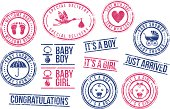 Rubber stamps (baby shower, welcome baby, it's a boy, it's a girl)