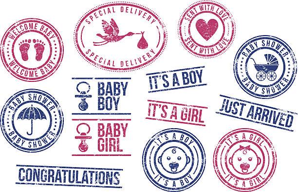 baby-briefmarken aus gummi - neugeborenes stock-grafiken, -clipart, -cartoons und -symbole