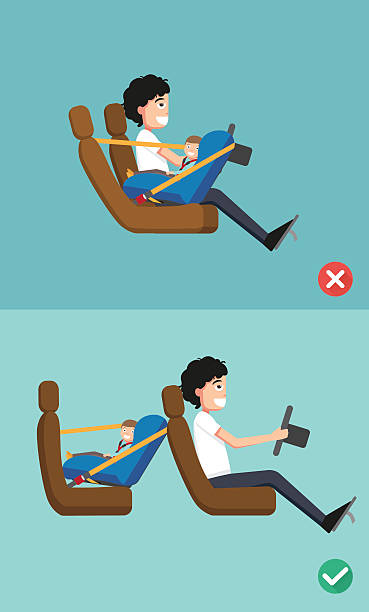 baby safety seat placing it in the car vector art illustration