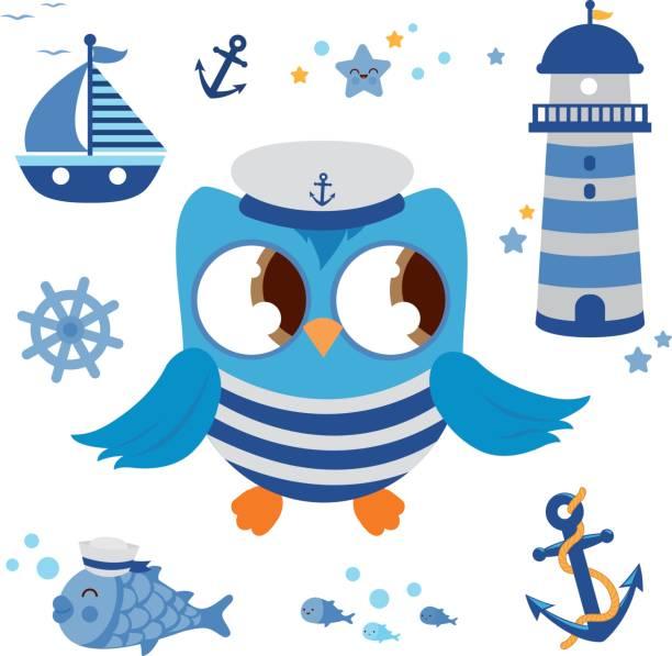 seemann eule marine nautik für babys - matrosenmütze stock-grafiken, -clipart, -cartoons und -symbole