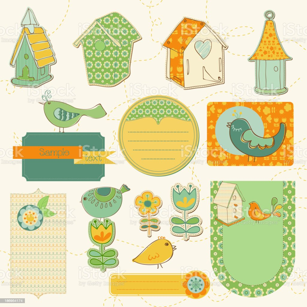 Baby Scrap with Birds and Bird Houses royalty-free stock vector art