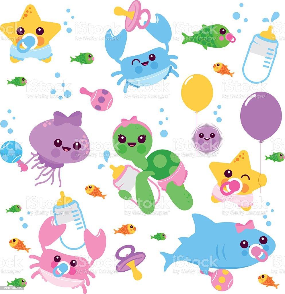 Baby sea animals vector set vector art illustration