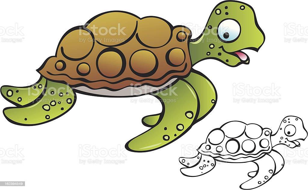Baby Sea Turtle vector art illustration