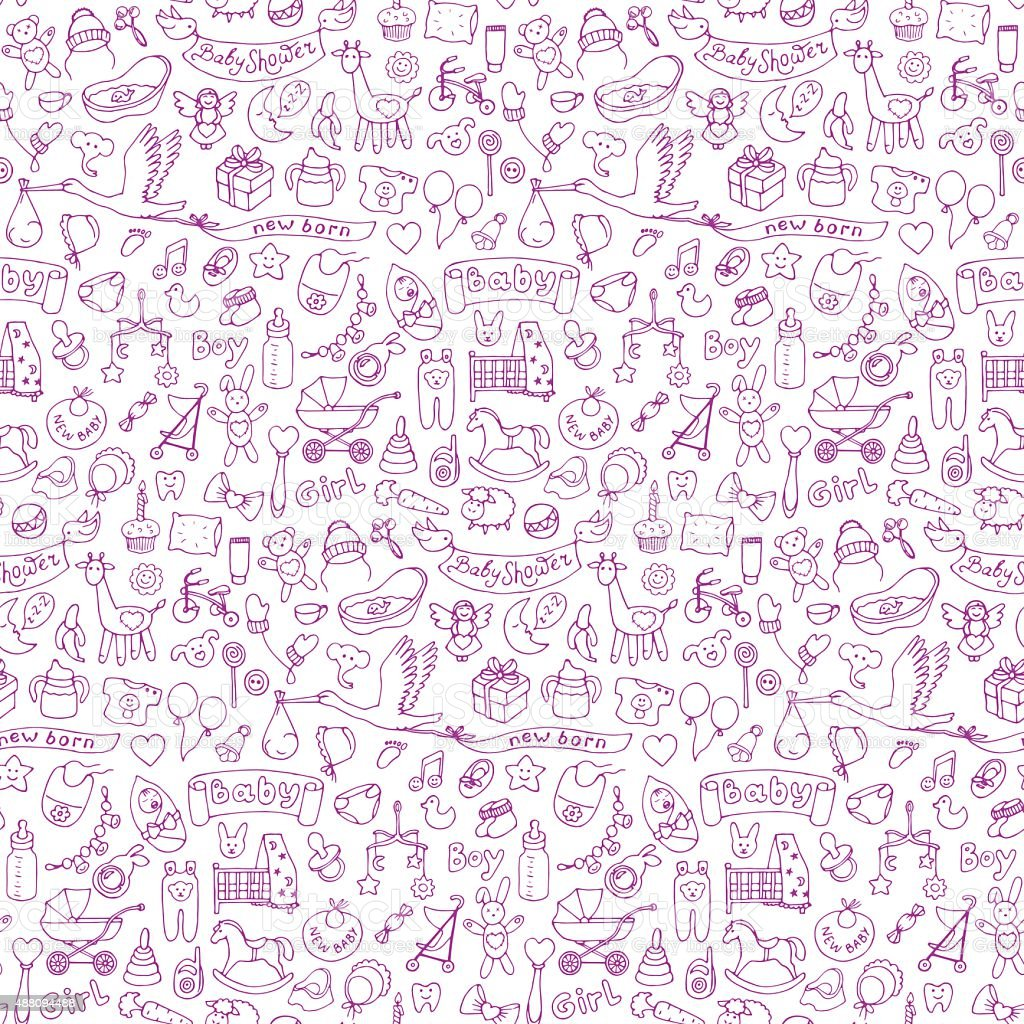 Baby seamless hand drawn doodle pattern vector art illustration
