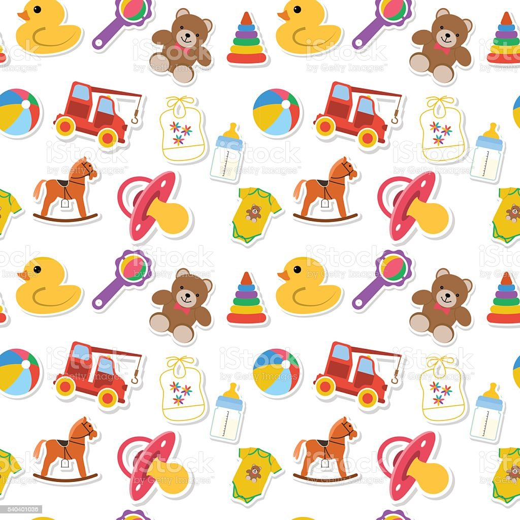 Patrón Sin Costuras Bebé - Arte vectorial de stock y más imágenes de ...