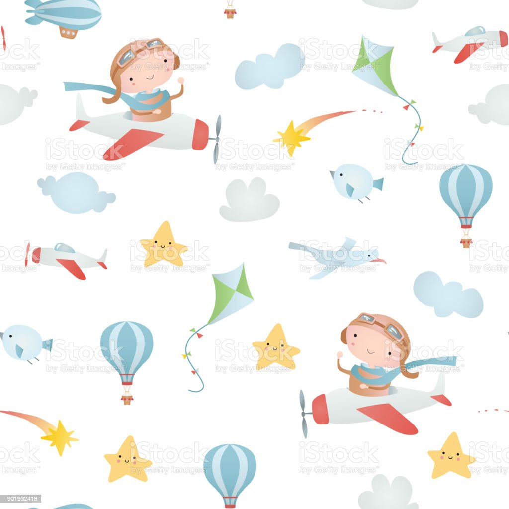 Baby seamless pattern vector art illustration