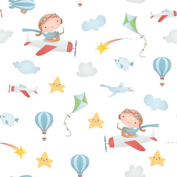 Baby seamless pattern Baby seamless pattern baby boys stock illustrations