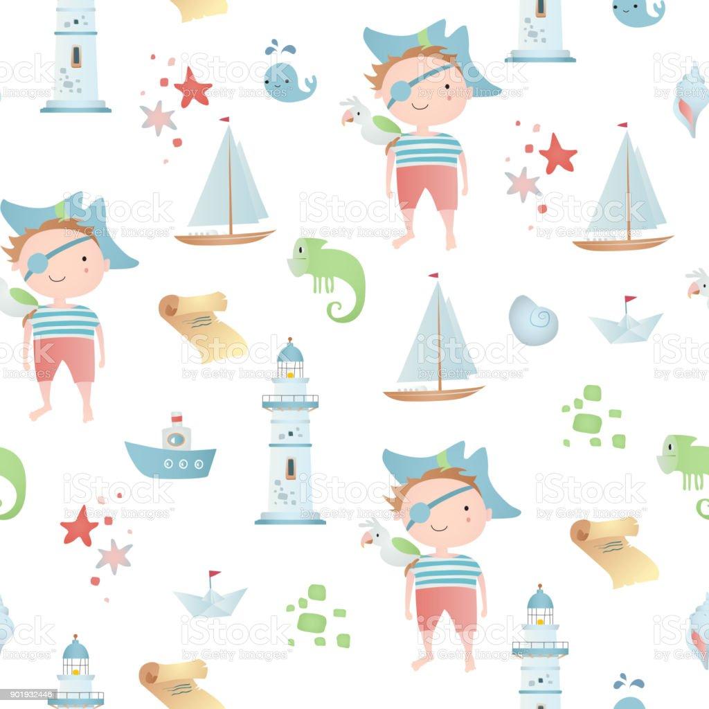 Baby seamless pattern vector art illustration