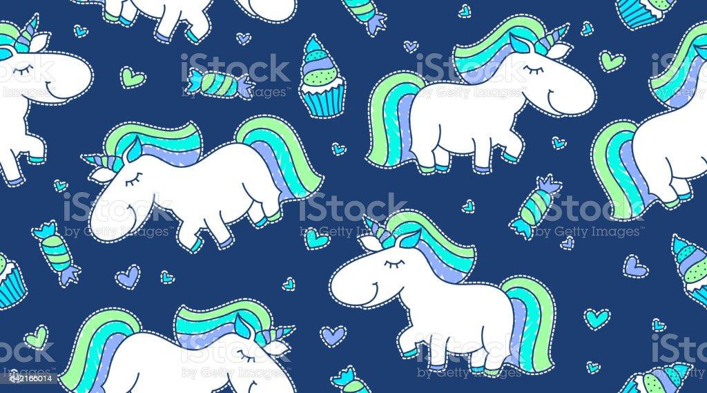 baby seamless pattern with unicorns vector art illustration