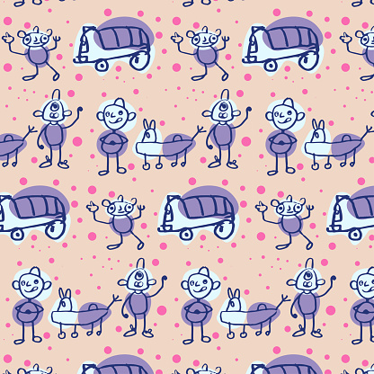 Baby seamless vector pattern. Cute cartoon background.