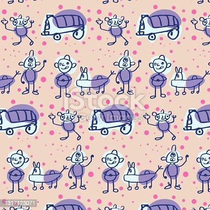 istock Baby seamless vector pattern. Cute cartoon background. 1317123071
