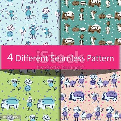 istock Baby seamless vector pattern. Cute cartoon background. 1317123273