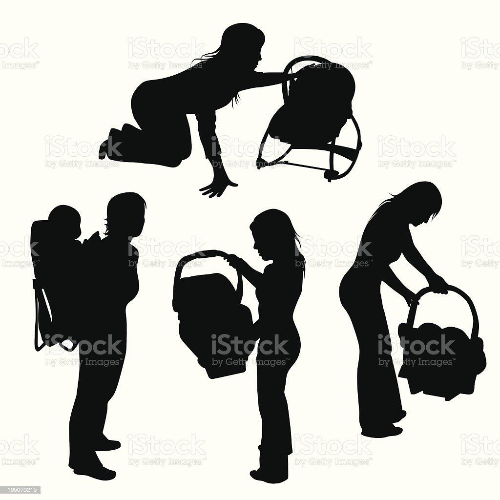 Baby Seat Carrier Rocker Vector Silhouette vector art illustration