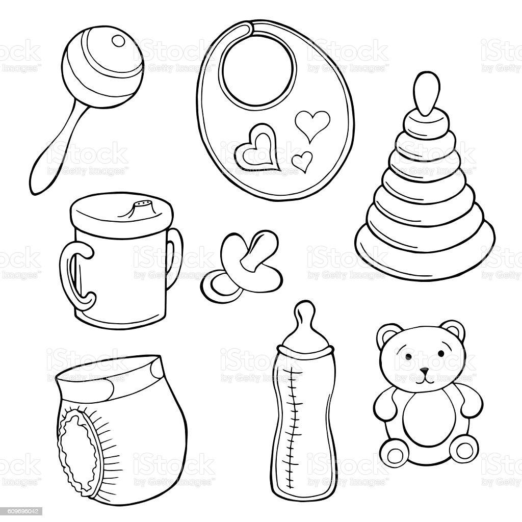 Baby set graphic art black white isolated illustration vector - Illustration vectorielle