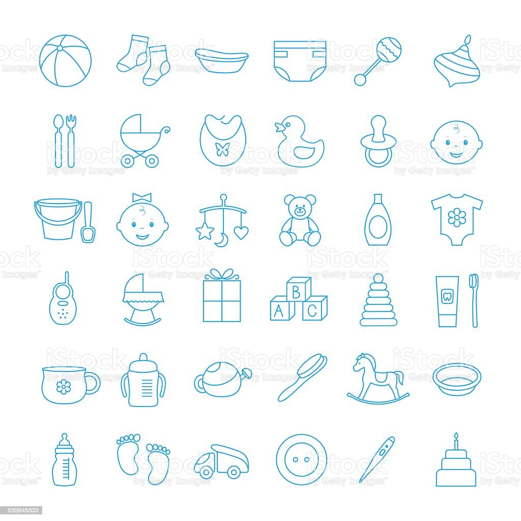 Baby set outline icons vector art illustration
