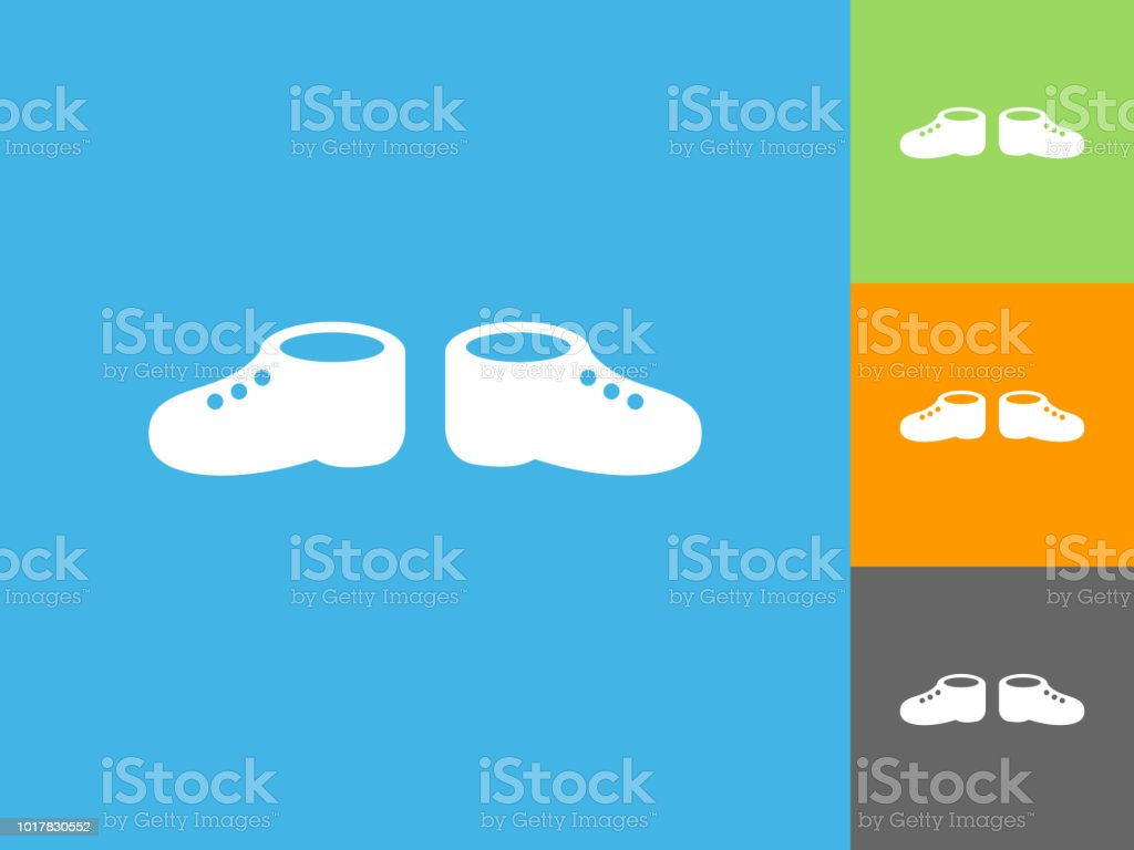 db498f96697d Baby Shoes Flat Icon On Blue Background Stock Vector Art   More ...