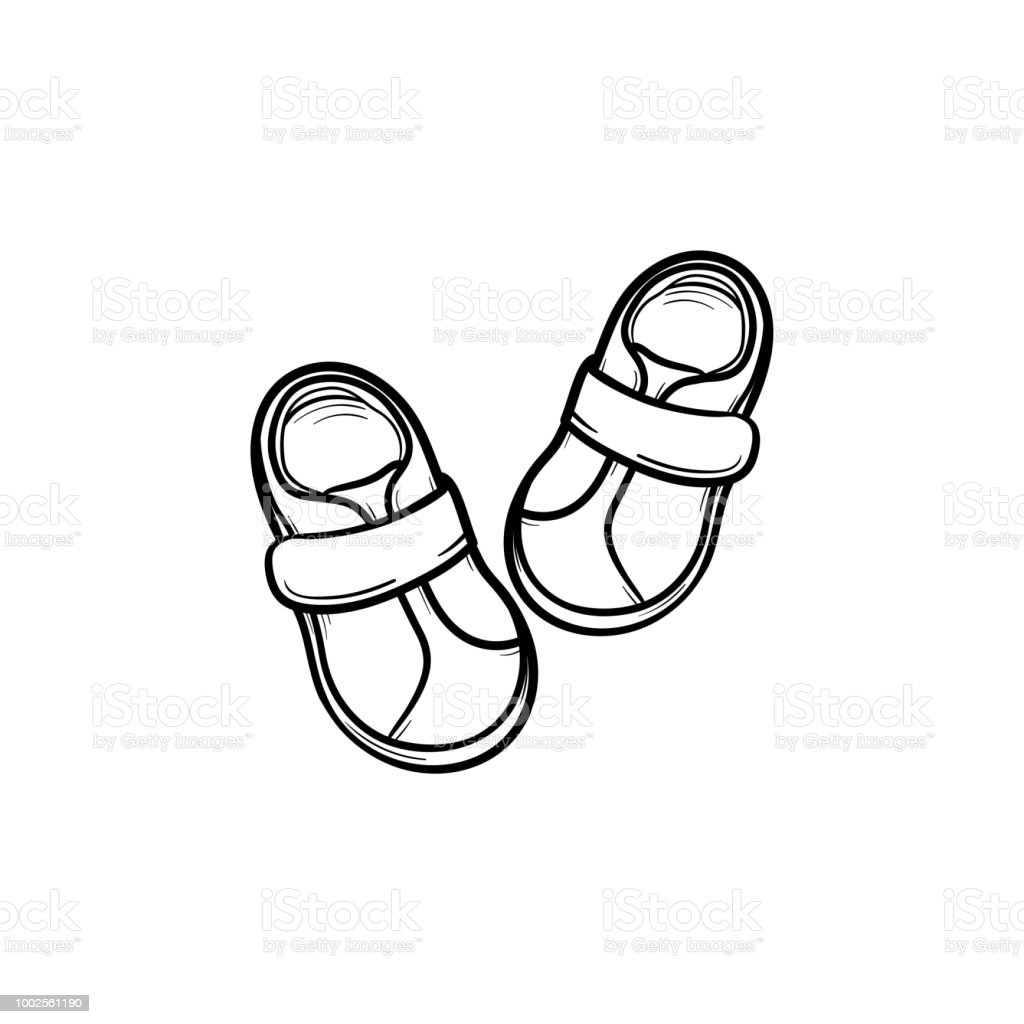 Baby shoes hand drawn outline doodle icon. Footware, booties for...