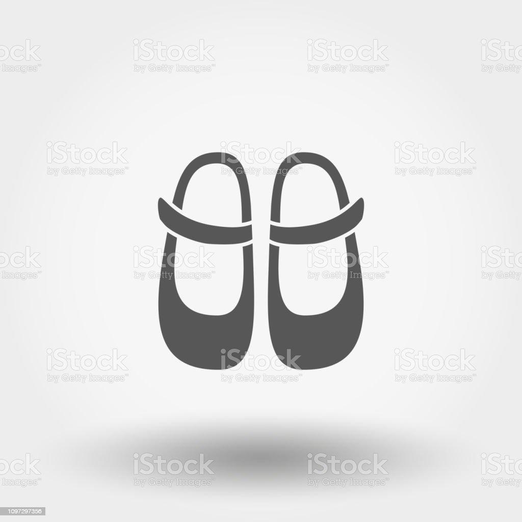 Babyschuhe Symbol Vektor Silhouette Flaches Design Stock