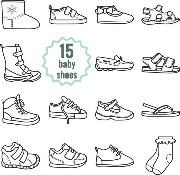 baby schuhe symbole festgelegt. schuhe für sommer und winter. - kinderstiefel stock-grafiken, -clipart, -cartoons und -symbole