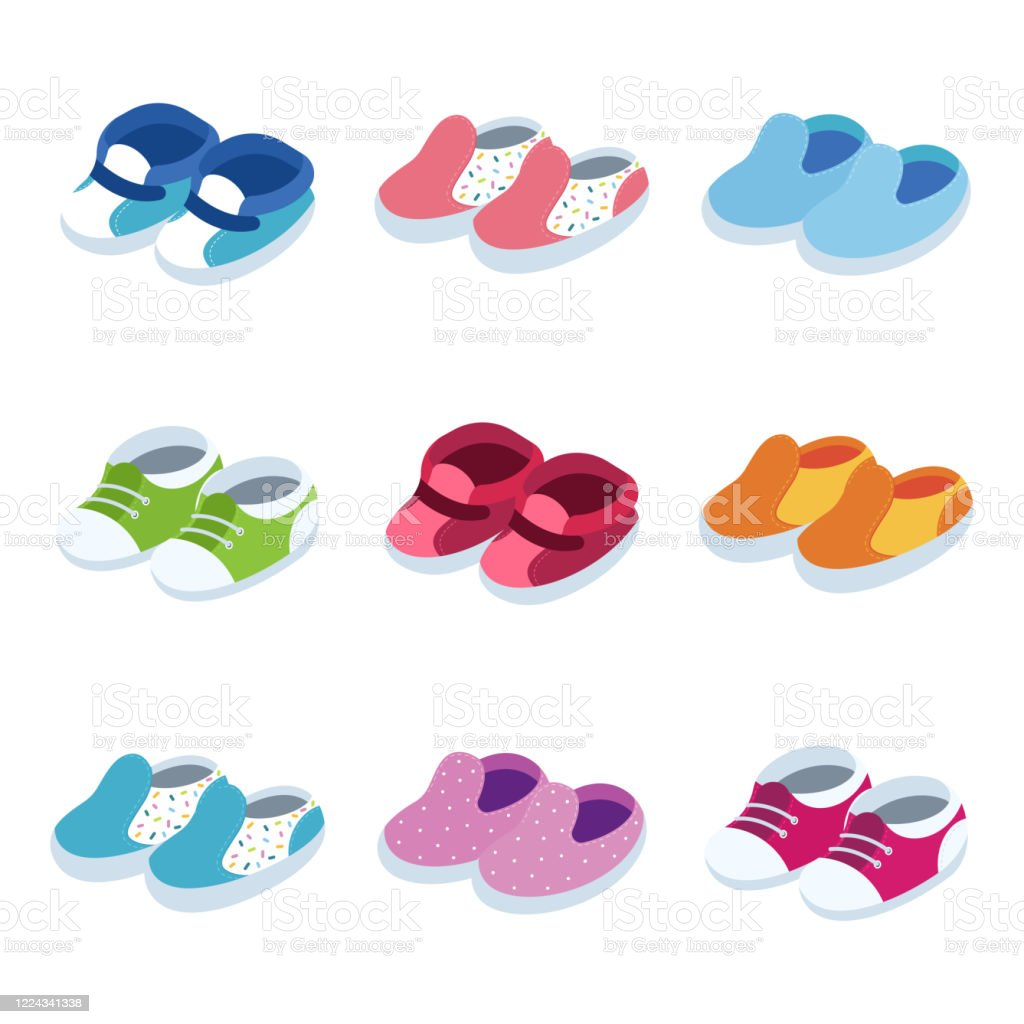 Baby Shoes Vector Isometric Icons Set Isolated On A White Background Stock Illustration Download Image Now Istock