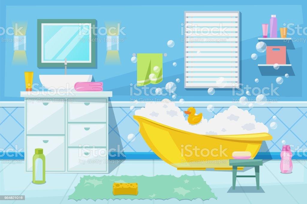 Baño Y Ducha De Bebé Habitación Interior Vector Ilustración De ...
