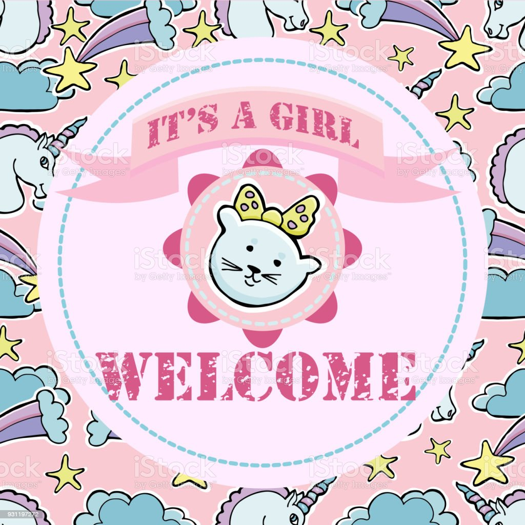 Baby shower and welcome greeting card text its a girl welcome cute baby shower and welcome greeting card text its a girl welcome cute little kristyandbryce Choice Image