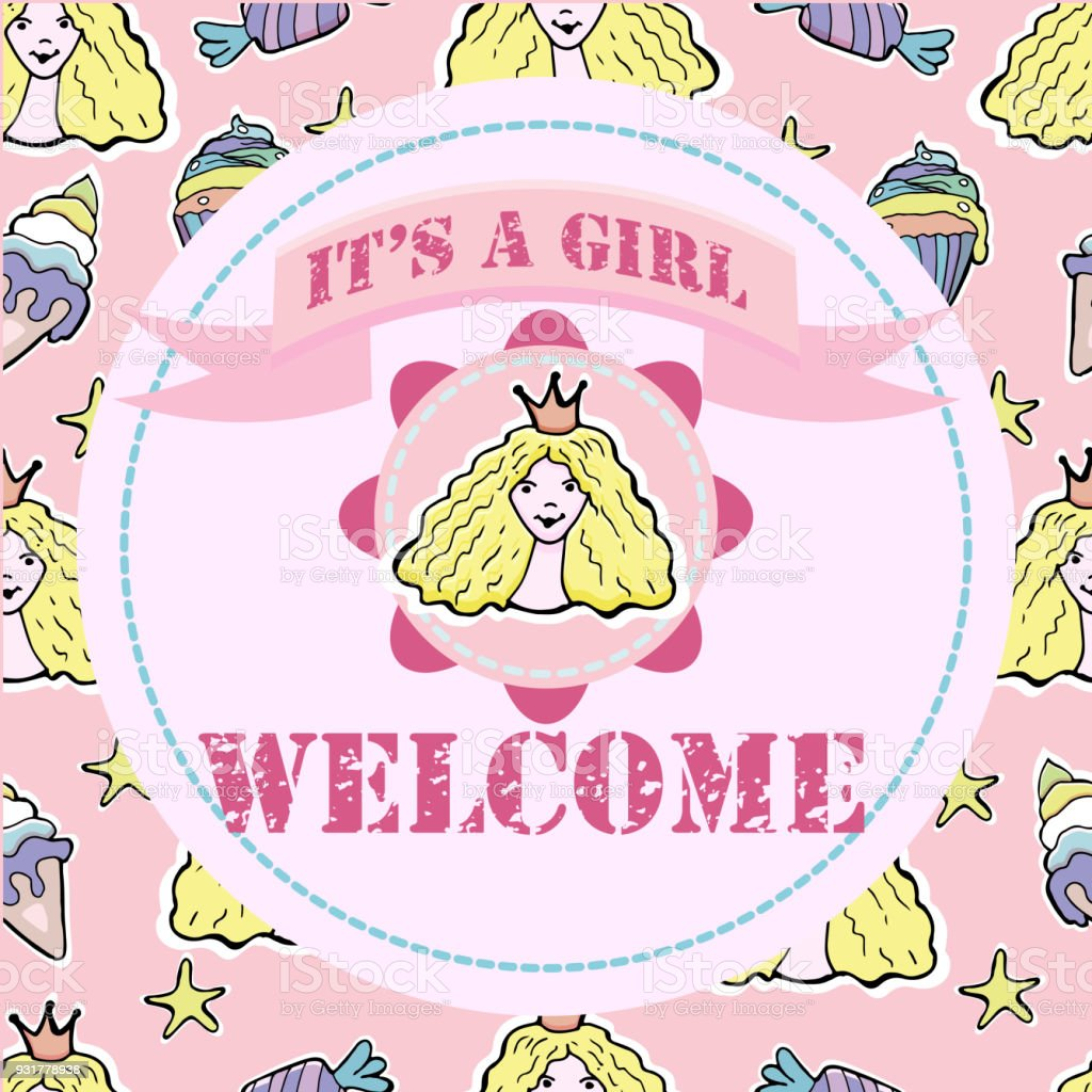 Baby Shower And Welcome Greeting Card Text Its A Girl Welcome Little