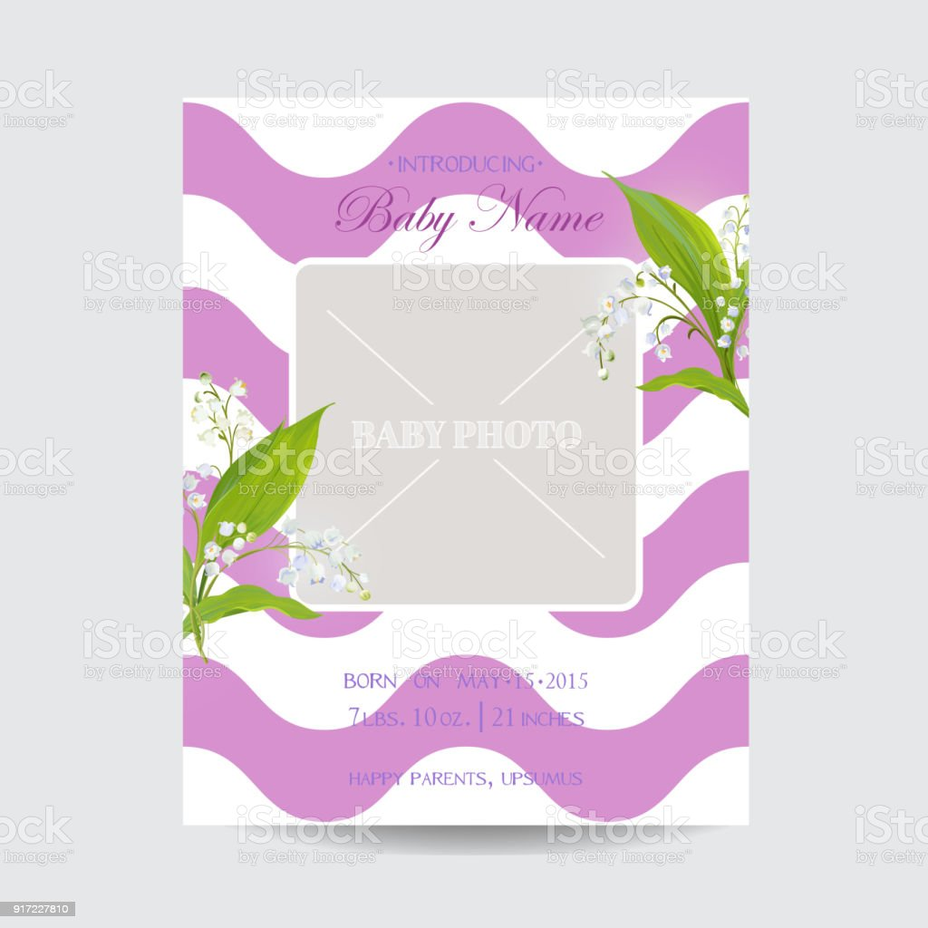 Baby shower arrival card template with photo frame floral invitation baby shower arrival card template with photo frame floral invitation with lily flowers vector filmwisefo