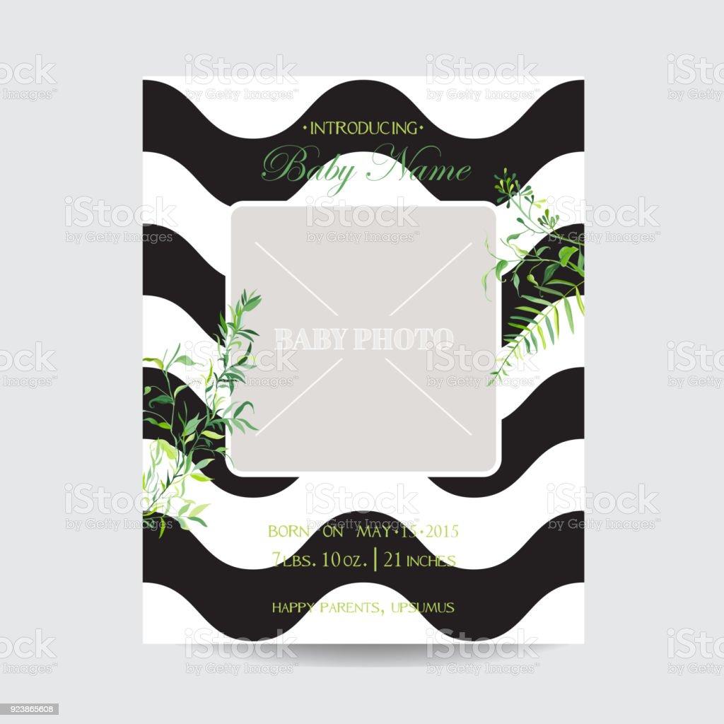 Baby Dusche Floral Einreisekarte Mit Rahmen Für Foto Datum Blühenden ...