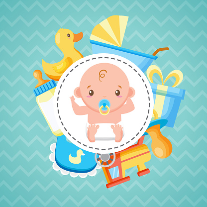 baby shower badge boy bottle duck gift pacifier train bib