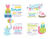 Baby shower badge happy mothers day insignias logotype sticker stamp icon frame and card design doodle vintage hand drawn element vector illustration