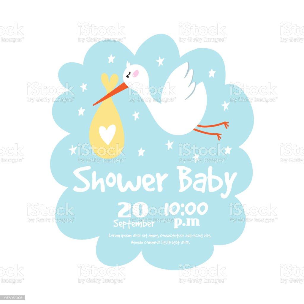 Baby shower badge happy mothers day insignias stork sticker stamp icon frame and bird card design doodle vintage hand drawn element vector illustration vector art illustration