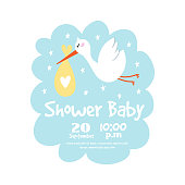 Baby shower badge happy mothers day insignias stork sticker stamp icon frame and bird card design doodle vintage hand drawn element vector illustration
