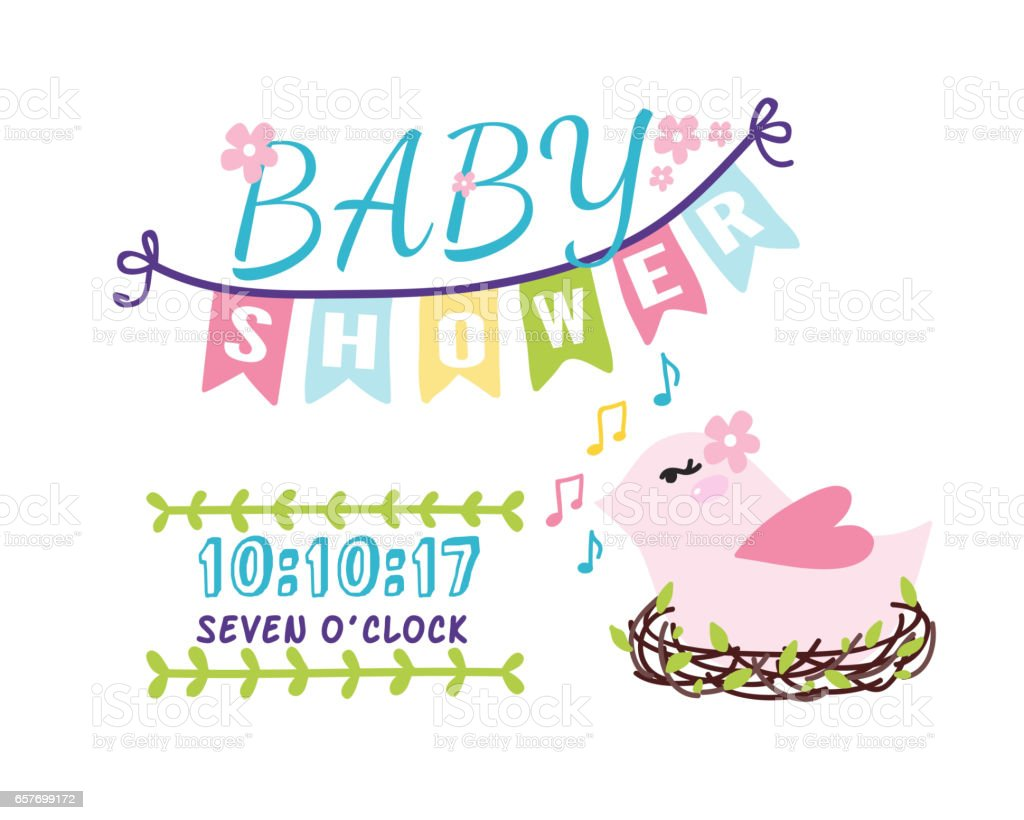 Baby Shower Badge Happy Mothers Day Logotype Pink Bird Sticker Stamp Icon  Frame And Card Design