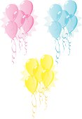 ballons in baby shower colors