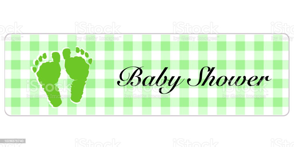 baby shower banner baby shower banner with foot prints stock vector